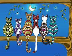 "Pop Art Zentangle Cats Lovers Moon Color"" Posters by wildwildwest ..."