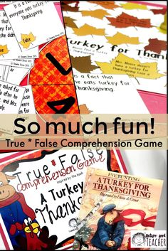 True*False Comprehension Game A fun way to extend the read-aloud for the book A Turkey for Thanksgiving. Included is a game board, spinner, 48 comprehension and reading skill and strategy type question cards, an answer key and student directions. Everything you need for a small group assessment, center activity or class competition.