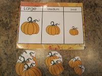 Large, Medium, Small Pumpkin Sorting! Laminate pieces then have fun sorting by size!
