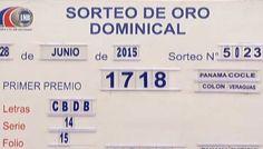 La Lotería nacional de Beneficencia de Panama celebro el sorteo de Oro dominical No. 5023 correspondiente al domingo 28 de Junio 2015