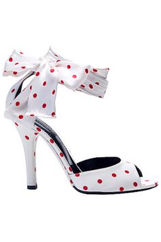 Dolce   Gabbana white with red polka dots heels.(what if they had blue  polka dots for wedding shoes  87357cb1a80