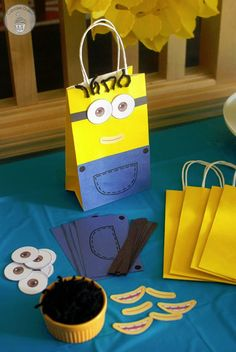 Minion Treat Bags Craft from Cupcake Diaries | Featured on Minions Party Roundup {OneCreativeMommy.com} So many great ideas!