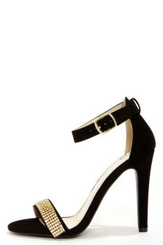 My Delicious Gila Black and Gold Rhinestone Ankle Strap Heels at LuLus.com! #lulus #holidaywear
