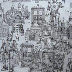 Doctor Who Toile de Jouy Walking Doodle SEPIA basic cotton natural daylight by Scrummy Things, via Flickr