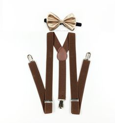 hand sewn and customized especially for fashionable children and adults! perfect for weddings, parties, birthdays and celebrations. ★color: champagne bowtie paired with dark brown suspenders for children, teens and adults  ★suspenders size measurement full length 42 inches (fit children