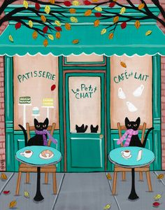 Paris Cafe for Cats Cat Folk Art Print Conners Kilkenny Cat Art Kitty Cafe, Cat Cafe, Here Kitty Kitty, I Love Cats, Crazy Cats, Cool Cats, Black Cat Art, Black Cats, Video Chat