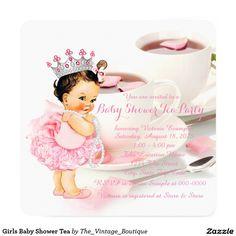 Girls Baby Shower Tea 5.25x5.25 Square Paper Invitation Card