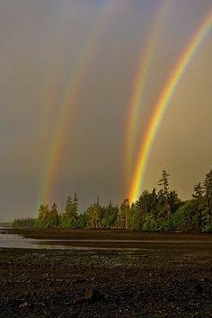Un arco iris cuádruple