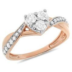 GetAmazonJewellery: 0.51 Carat (ctw) 10k Gold Round Princess Cut Diamond Infinity Heart Bypass Bridal Promise Engagement Ring