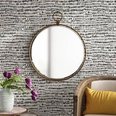 Polaris Large Framed Wall Mirror & Reviews | Joss & Main Said Wallpaper, Wallpaper Roll, Peel And Stick Wallpaper, Hallway Furniture, Furniture Sale, Round Mirrors, Wall Mirrors, Single Bathroom Vanity, Vanity Set