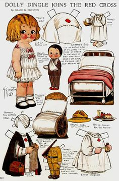 The same person who invented and drew the  Campbell Kids also created a line of Dolly Dingle paperdolls.  Adorable and fun for quiet, imaginative play.