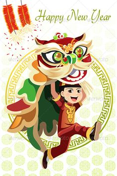 Buy Chinese Lion Dance by artisticco on GraphicRiver. A vector illustration of a Chinese boy dancing a Lion dance. Vector illustration, zip archive contain eps 10 and high. Chinese New Year Design, Chinese New Year Card, Chinese New Year Crafts, Chinese Lion Dance, Chinese Boy, Dragon Dance, Dragon Art, Foo Dog, Happy New Year Dog