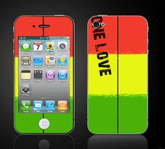 One Love Reggae rasta colors iPhone 4 4S Vinyl Decal by ItsASkin, $9.95