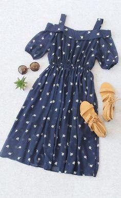 Navy Cold Shoulder Ice Cream Printed Chiffon Dress