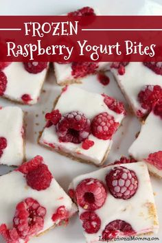 Frozen Raspberry Yogurt Bites are a cool, sweet treat that are easy to make and delicious! Made with healthy ingredients, it will quickly become a favorite! Yummy Snacks, Delicious Desserts, Healthy Snacks, Yummy Food, Heathy Treats, Healthy Eating, Healthy Kids, Yogurt Recipes, Fruit Recipes