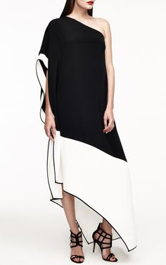 One Shoulder Contrast Long Dress by Monique Lhuillier for Preorder on Moda Operandi