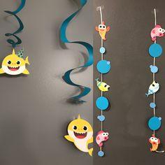 42 Ideas baby shower ideas for boys fishing first birthdays Baby Boy First Birthday, Boy Birthday Parties, 2nd Birthday, Birthday Ideas, Shark Party, Baby Shark, Hanging Decorations, Shark Decorations, First Birthdays
