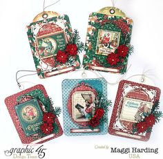 Make these tags in 10 minutes or less with a video tutorial from Maggi (click through to find) #graphic45 #festiveandfuntagseries #tutorial #holiday