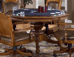 Nassau 2 in 1 Game Table Set by Hillsdale Furniture While the chairs offer an antique look similar to Eastlake dining chairs, the main lure of the Nassau Game Dining Room Furniture, Furniture Decor, Dining Chairs, Dining Table, Room Chairs, Chess Table, Office Chairs, Game Table And Chairs, Table Games