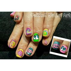 Funky gelnail design. Inspired from play_nomore.