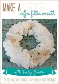Simple Craft - Make a #coffefilter #wreath with #burlap rose #flowers - Full photo tutorial walk through. #diy #craft