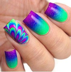 99 Gorgeous Water Marble Nail Art Designs Ideas Youll Want To Try This Season Water marbling is becoming a hot trend these days in the world of nail art. Rainbow Nails, Neon Nails, Cute Acrylic Nails, Diy Nails, Cute Nails, Pretty Nails, Gradient Nails, Funky Nails, Simple Nail Art Designs