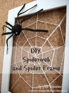 DIY Spiderweb and Spider Frame - My Little Inspirations #handmadehalloween #thecreativefactory