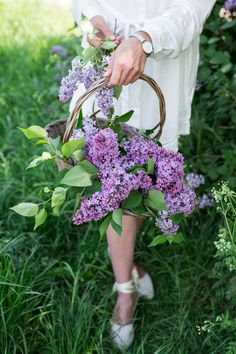 Basket with lilac flower