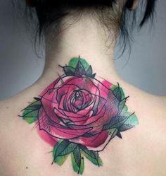 rose flower watercolor tattoo