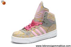 Wholesale Discount Girl's Adidas X Jeremy Scott Big Tongue Shoes Pink Yellow Newest Now