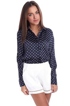 Spot printed shirt in navy blue satin - 44,90 $ - https://q2shop.com/us/