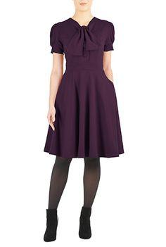 I <3 this Tie-neck cotton knit dress from eShakti