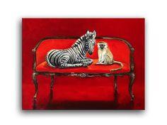 Daily Oil Painting, Black White Zebra Baby, Monkey, Red Loveseat Chair Applegate