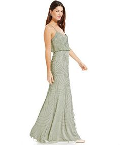 Bridesmaid.    Might be too green?     Adrianna Papell Sleeveless Beaded Blouson Gown