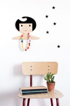 Perfect for a kids room - birch ply wood hanger