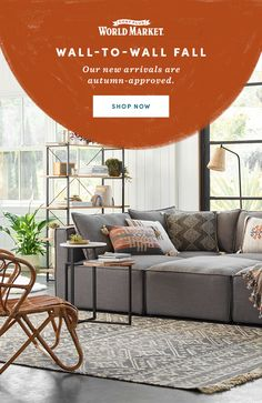 Shop now at Cost Plus World Market: Go wall-to-wall with fall inspiration! Our new autumn arrivals celebrate the spirit of the season with colors, patterns and silhouettes inspired by fall. Outdoor Sofa, Outdoor Furniture, Outdoor Decor, Beach Living Room, Shopping World, Affordable Home Decor, World Market, Autumn Inspiration, Silhouettes