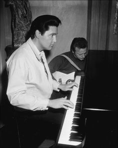 Elvis tickling the ivories while Red West strumming the guitar on the Spinout set