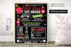 First Day of First Grade Printable School Template, Printable School Chart, First Grade Printable, First Grade Template, School Printable I School, First Day Of School, School Template, Teacher Name, Schools First, Pattern And Decoration, All Fonts, Handmade Design, First Grade