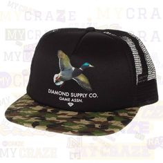 Diamond Supply Co Game Assn DUCK Trucker Camo Black Cap – MyCraze  #diamondsupplyco #baseballcap #streetwear