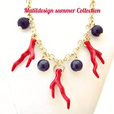 Necklace, fashion jewelry, Made in Italy, collier, bijoux, black and red, coral, matildesign