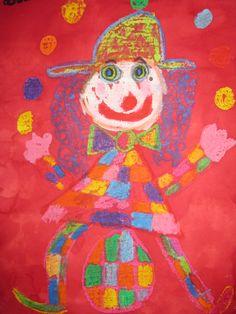 Oil chalks kid's clown . L'encre est étalée après les dessin et coloriage à la craie grasse .