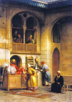 In a Rug Bazaar, Cairo 1877 By George Henry Hall American, 1825-1913 ...