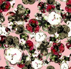 SEAMLESS PATTERN: EQUALITY. COLLECTION: INNOCENT RIOT. Rich peonies buds and flowers are the inspiration for this pattern that combines beautiful strong burgundy, immaculate white and neutral brown. This mix makes you think of the natural course of life: fresh new and aged old flowers, painted by hand with watercolors and finished in Ps.