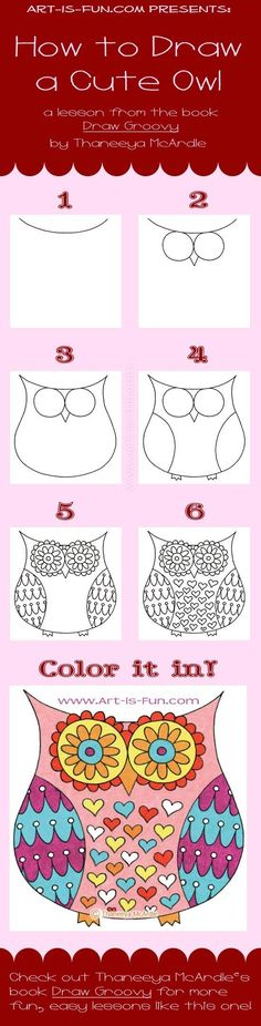 Easy Drawings How to Draw an Owl: Learn to Draw a Cute Colorful Owl in this Easy Step-by-Step Drawing Lesson - Drawing Lessons, Art Lessons, Drawing For Kids, Art For Kids, Drawing Ideas, Drawing Tutorials, Drawing On Rocks, Learn Drawing, Drawing Techniques