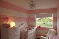 Light and dark pink wide stripes in baby girl nursery - #projectnursery