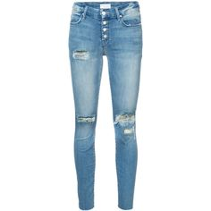 Mother ripped skinny jeans (1.127.395 COP) ❤ liked on Polyvore featuring jeans, pants, bottoms, blue, blue jeans, blue skinny jeans, high waisted distressed skinny jeans, distressed jeans and high-waisted jeans
