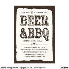 Beer & BBQ | Rustic Engagement Party Card