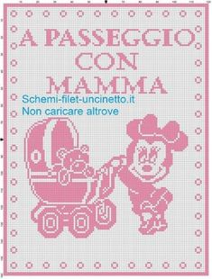 Baby blanket minnie Walking with mom filet crochet pattern Knitting Patterns, Crochet Patterns, Knitting Ideas, Filet Crochet, Baby Disney, Crochet Baby, Projects To Try, Baby Boy, Diagram
