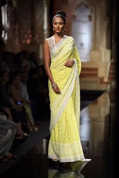 abu jani sandeep khosla lime green Chikenkari saree showcased @ India Bridal Week 2015 #Bridal #Indian #Ethnic