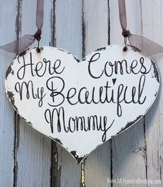 Flower Girl Signs | Ring Bearer Signs | Wedding Heart Sign | Rustic Wedding Sign | Romantic Wedding Ideas | Here Comes My Mommy | Distressed